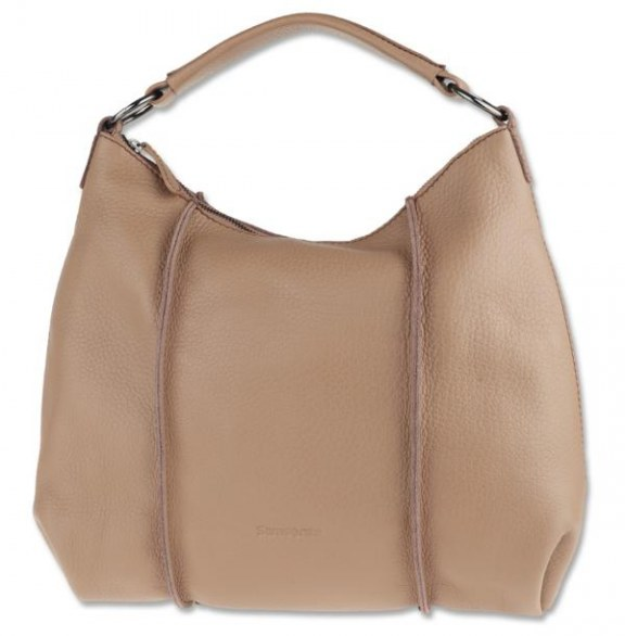 beige bag with a single handle